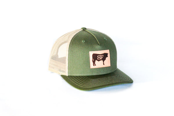 Green Leather Steer Hat