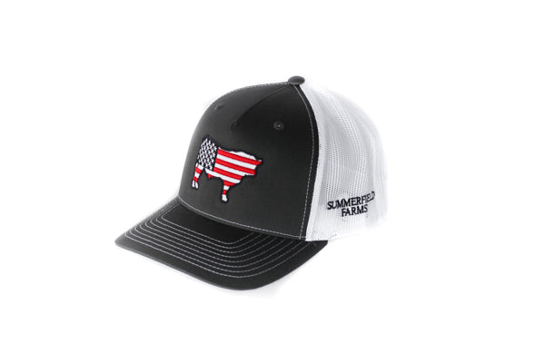 Charcoal Patriotic Steer Hat