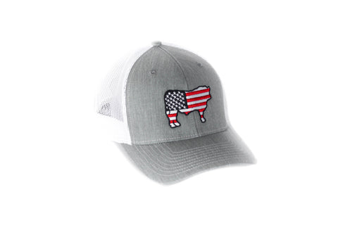 Grey Patriotic Steer Hat
