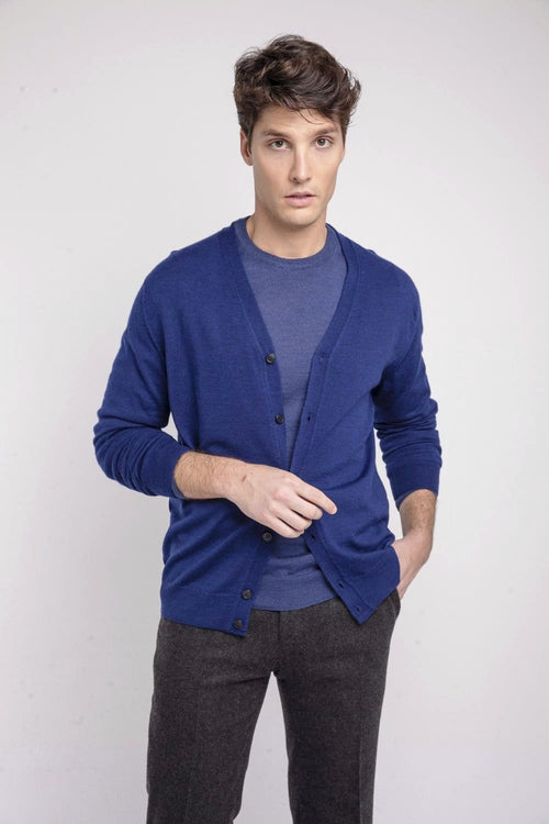 The Merino cardigan Azul Tinta