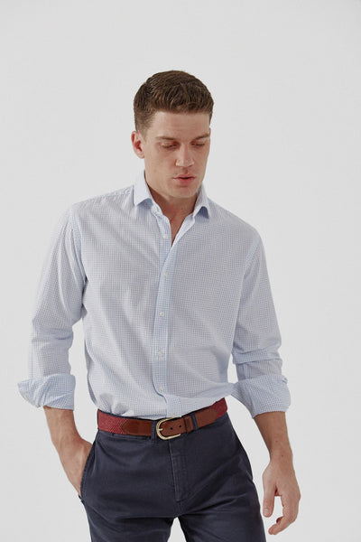 The Popelin Cuadro Celeste Slim fit
