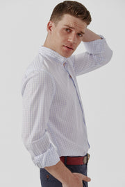 The Popelin Vichy Celeste Slim fit