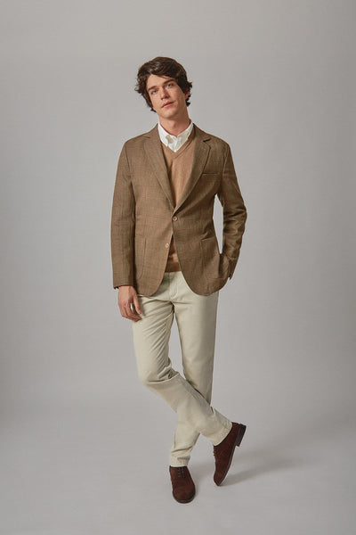 The wool blazer espiga marrón