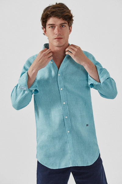 The Lino Camisa Verde Agua