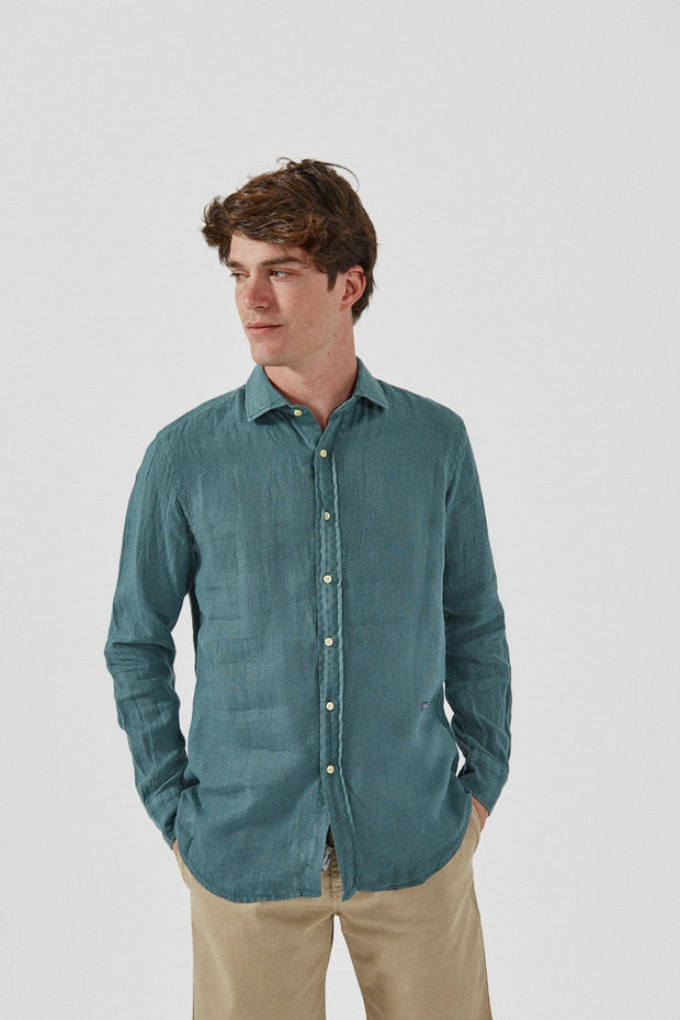 The Lino Camisa Verde Comillas