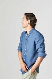 The Lino Camisa Mao Azul Navy