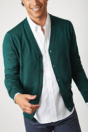 The Merino cardigan verde inglés