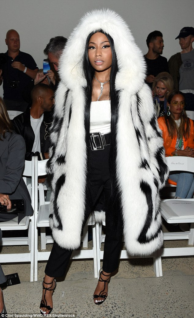 Nicki Minaj Rocks Fuzzy White Coat