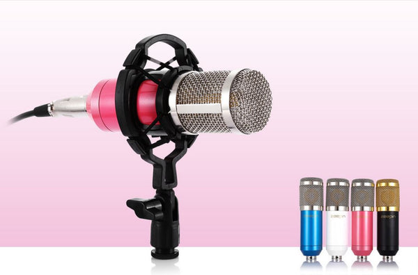 Condenser Sound Recording Microphone With Shock Mount For Radio Broadcasting Singing
