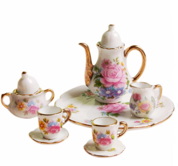 Children's Classic Kitchen Pretend Play Toys Set 8pcs Dollhouse Dining Ware Porcelain Tea Set