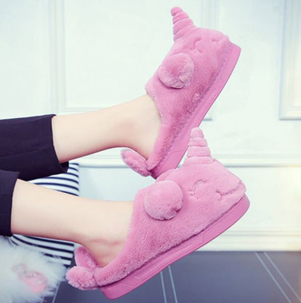 Cute Plush Indoor Unicorn Slippers