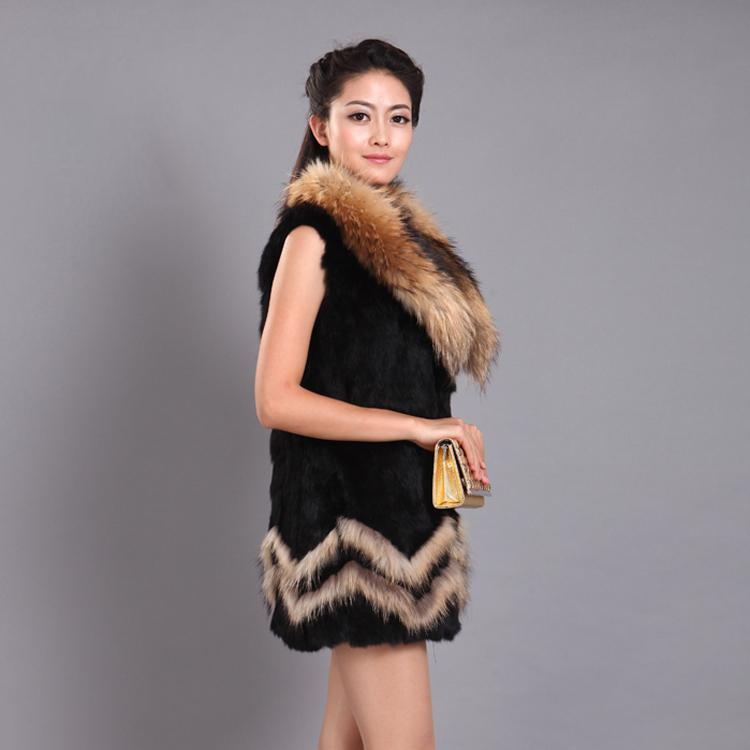 Elegant Fur Collar Real Rabbit Raccoon Fur Vest