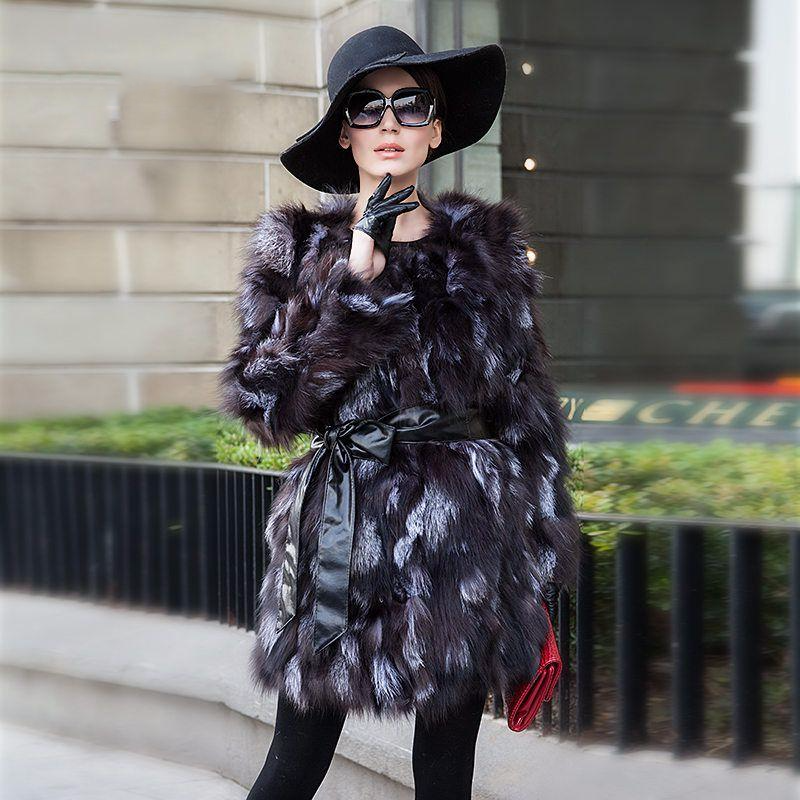 Fashion Women's Silver Fox Fur Coat Jacket Overcoat