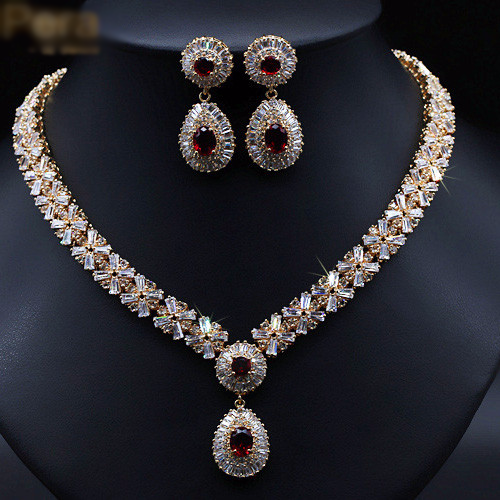 Gold Plated Statement Diamond Jewelry Sets