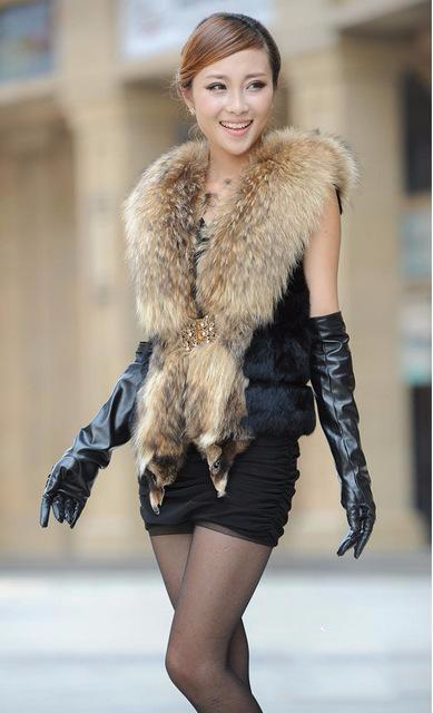 Luxury Fur Vest Coat With Big Fur Collar