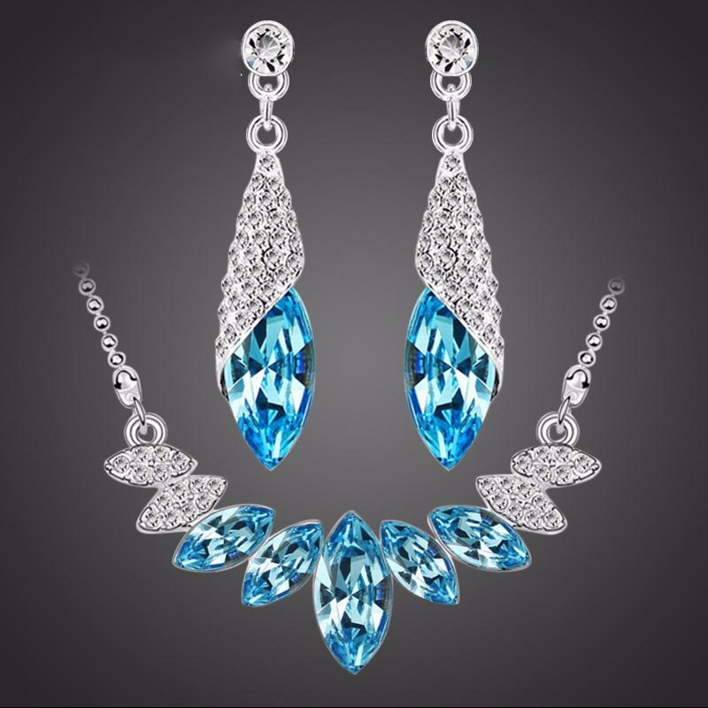 Wedding Crystal Silver Water Drop Earrings Sets