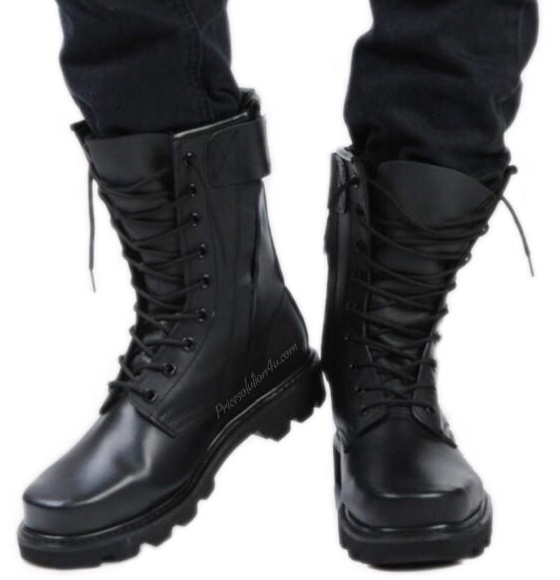 Leather Combat And Steel Head Tooling Boots