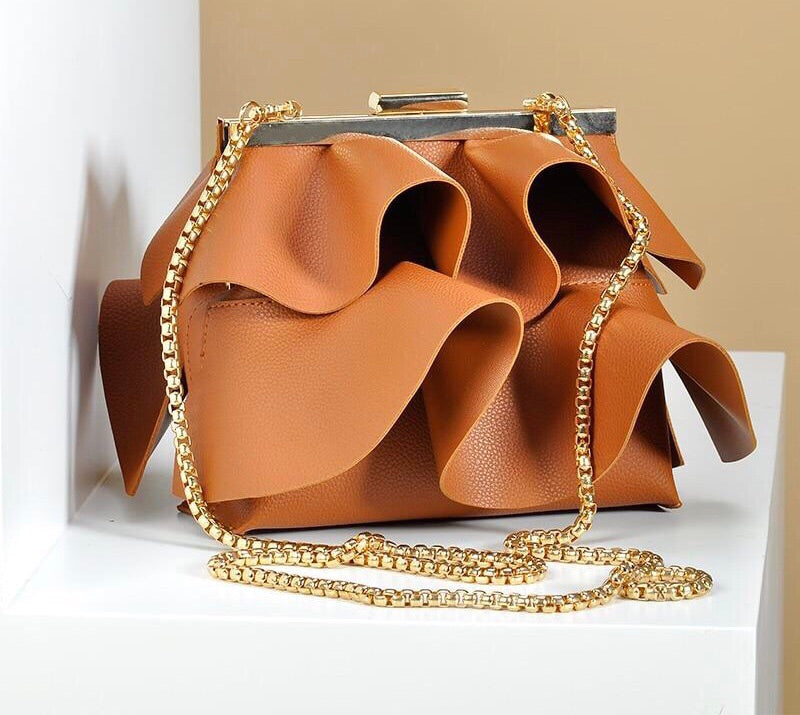 Designer Ruffles Shoulder Leather Handbags