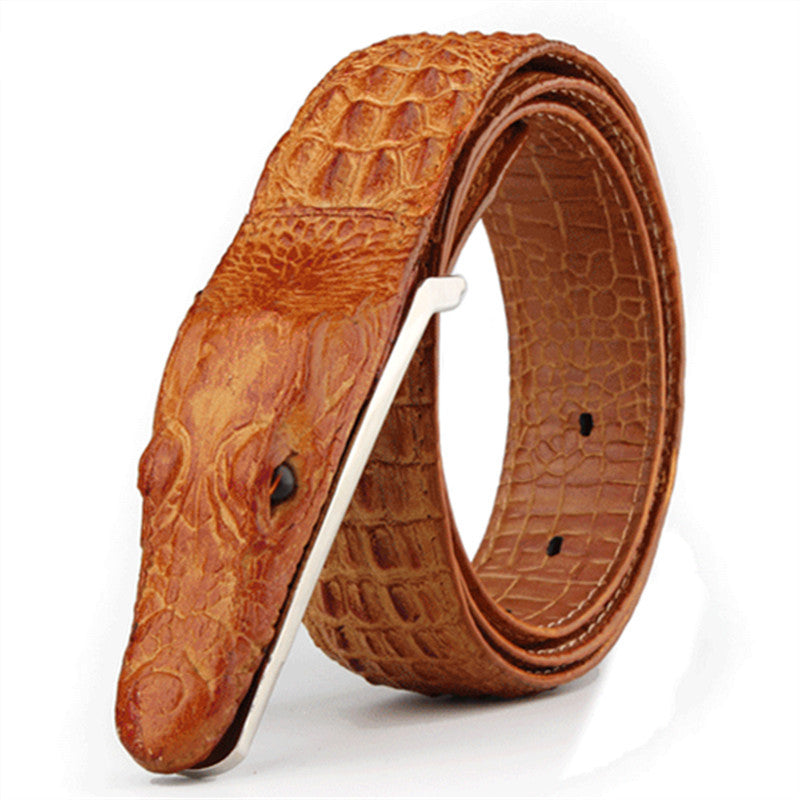 Crocodile Men's Belts Cow Leather Belt