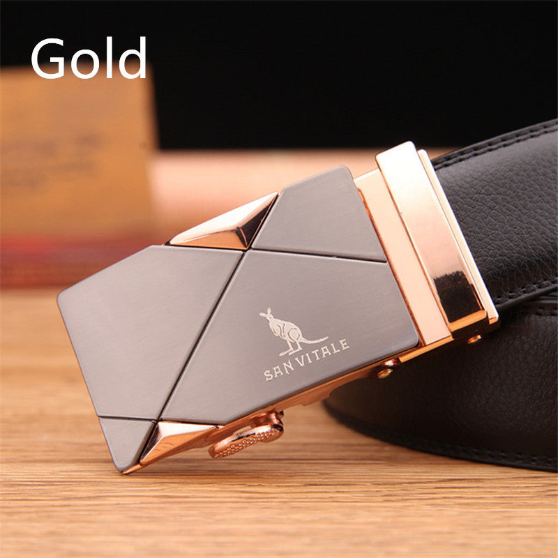 Leather Automatic Buckle Strap Belts For Men