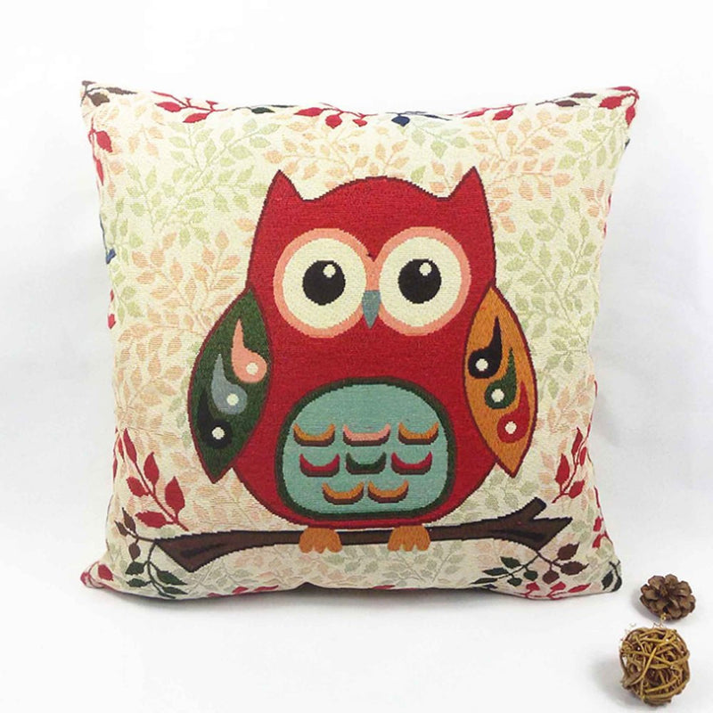 Owl Printed Cushion Pillow Cover