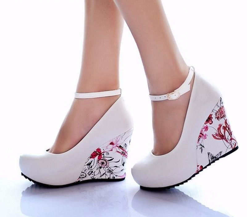 Flower Print Wedges Platform Pumps Shoes