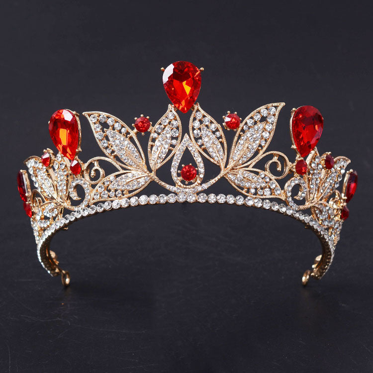 Vintage Red Rhinestone Bridal Tiara Hair Jewelry