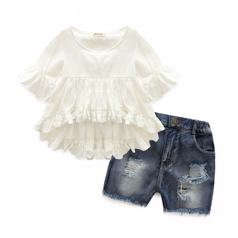 Fairy Flounced Sleeves Top And Casual Jeans