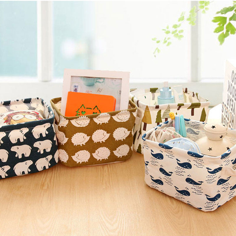 Linen Desk Storage Box Stationery Organizer