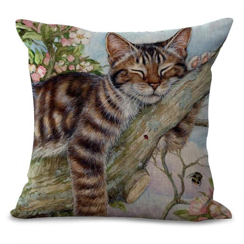 Cute Floral Cat Pillow Cushion