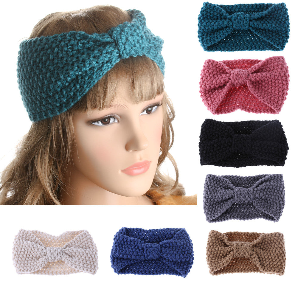 Women Bowknot Turban Knitted Hairband
