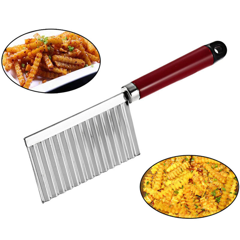 Stainless Steel Potato Chip Crinkle Wavy Cutter Slicer