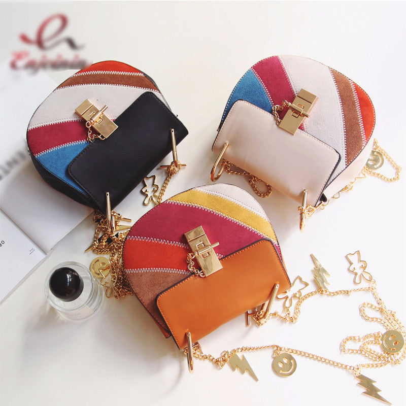 Suede Leather Patchwork Women's HandBag