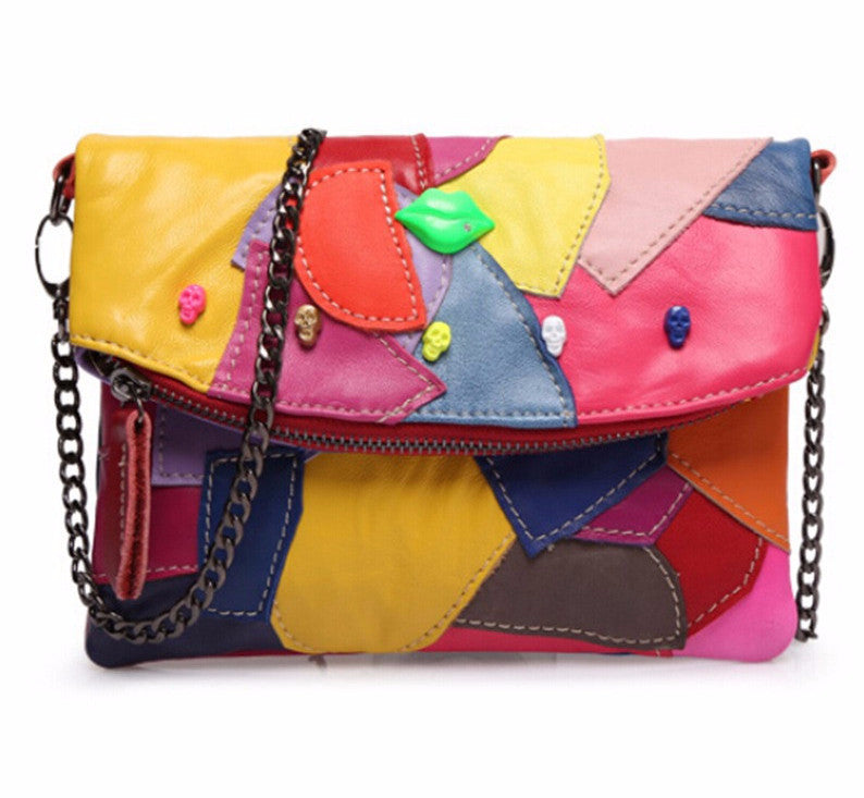 Leather Women's Clutch Bag With Chain Patchwork
