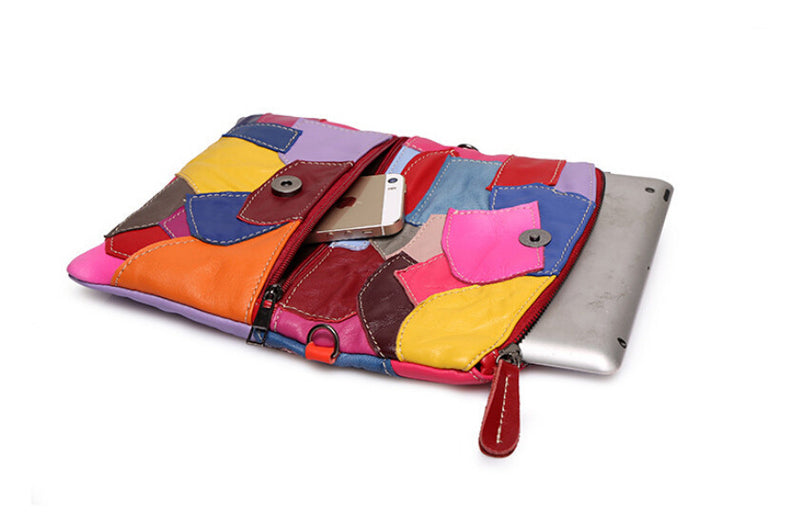 Leather Clutch Bag With Chain Patchwork
