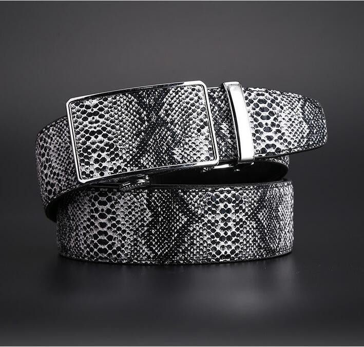Snake Men's Leather Automatic Buckle Belt