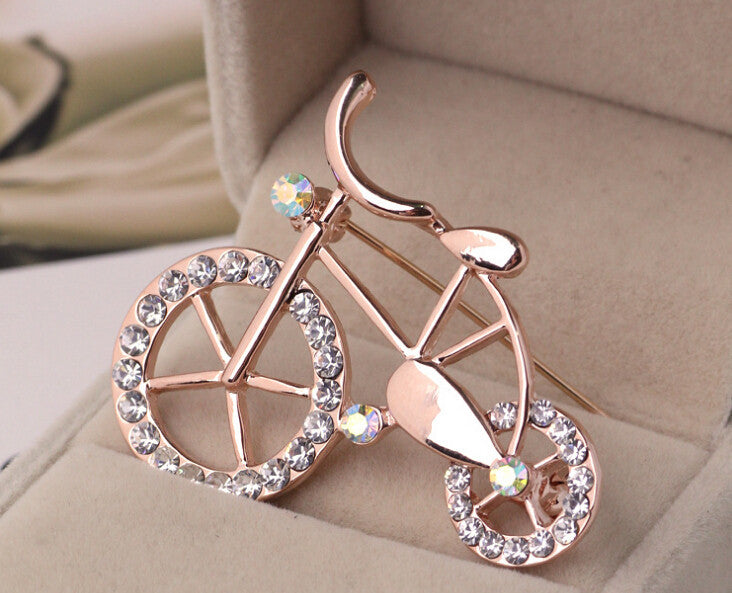 Korean Cute Bicycle Retro Crystal Brooch Pin