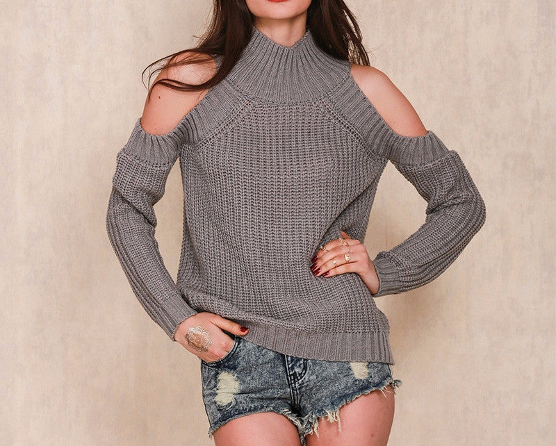 Turtleneck Off Shoulder Knitted Sweater