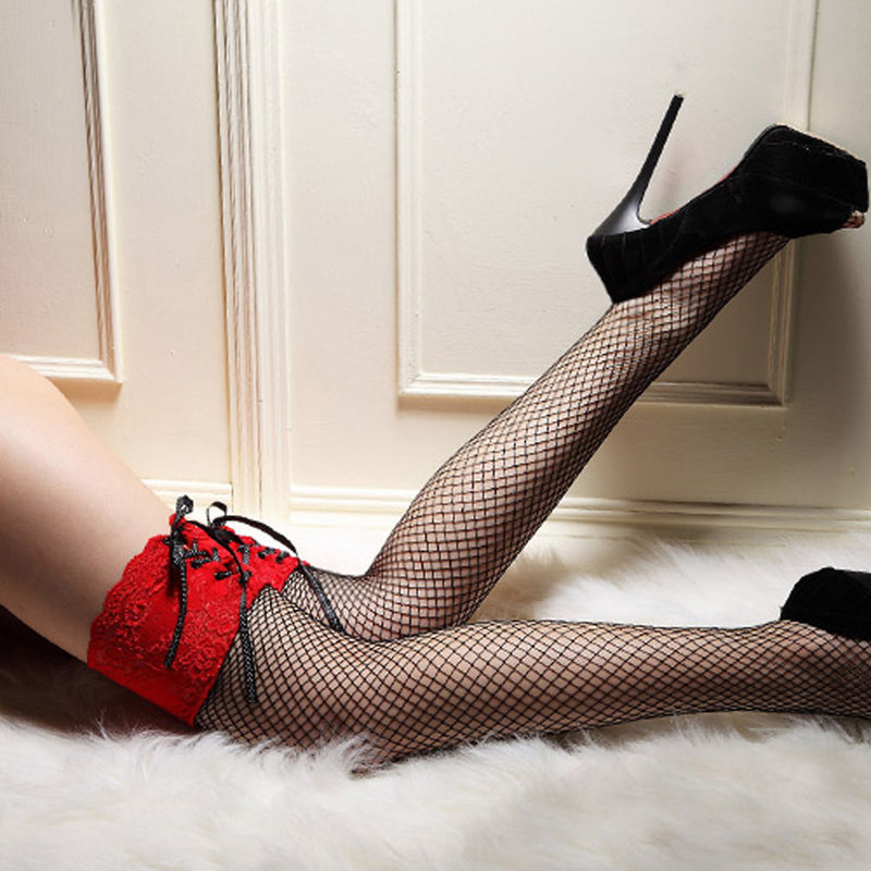 Thigh High Sheer Lace Net Stocking