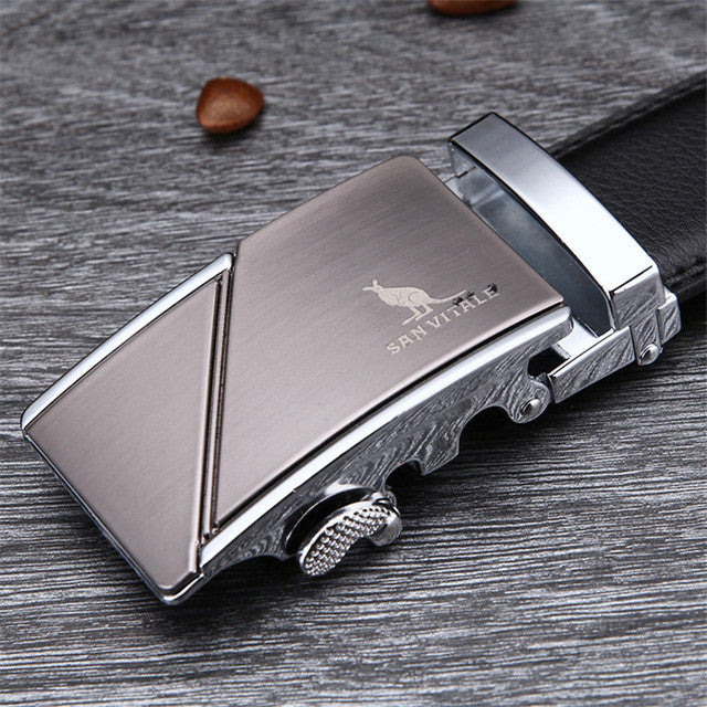 Men's Belt Cowskin Metal Automatic Buckle