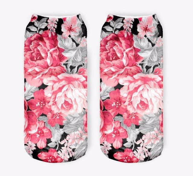 Vintage Flowers Women Low Cut Ankle Socks