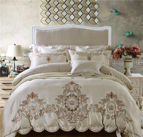 Silky Embroidery Bedding Set King Queen Size Duvet Cover Set