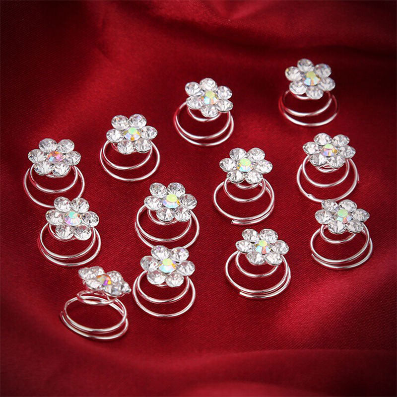 Crystal Rhinestone Flower Hair Clips Hairpins