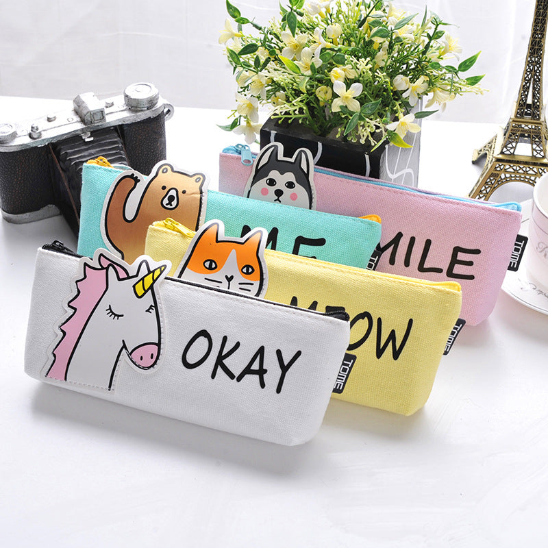 Cute Fabric Animal Pencil Case