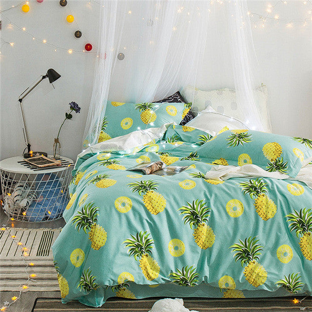 Pineapple Bedding Set Fruit Bed-Sheet Duvet Cover Set King Queen Size