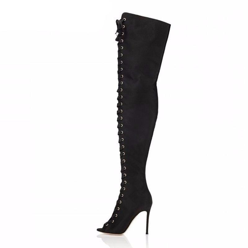Cross Tied Women Peep Toe Over Knee Boots