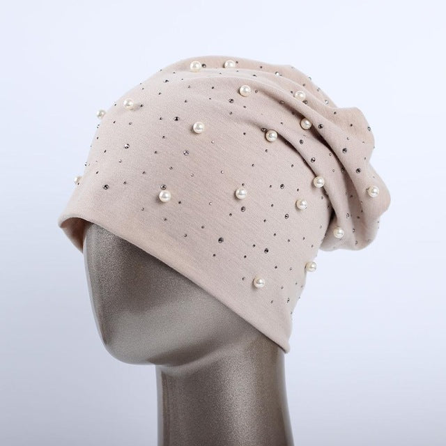 Beanie Hat With Shine Pearls & Rhinestones