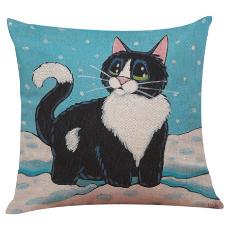 Cat Print Pillow Cases Cushion Covers