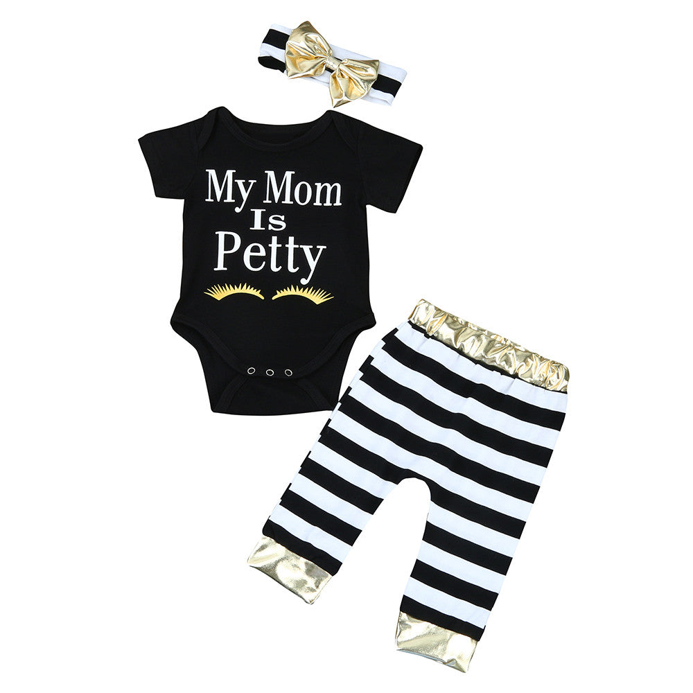Short Sleeve Romper Striped Pants And Bowknot Headwear. Newborn Infant Baby Girls Clothes