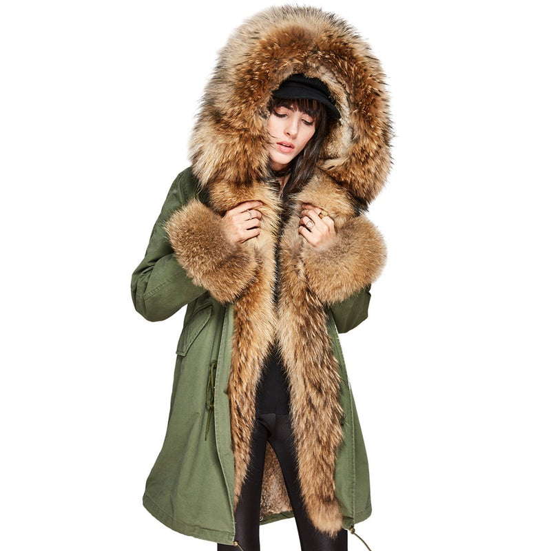 Women's Detachable Fur Collar Hooded Coat